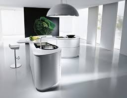 Modern Curved Kitchen Island Beautiful Curved Kitchen Design With Cabinets And Simple Chairs