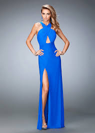 long criss cross halter keyhole strappy open back electric blue