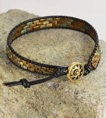 bracelet beads leather images Projects lashed wrap bracelet with half tila beads leather jpg
