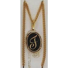 gold letter necklace pendants images Damascene gold letter f oval pendant jpg