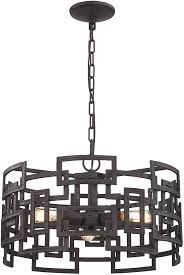 Elk Pendant Lights Elk 14333 3 Garriston Modern Clay Iron Drum Pendant Lighting Elk