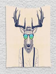 deer wall hanging tapestry hipster animal art print home decor ebay