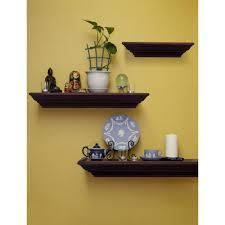 decorative shelves home depot burnes of boston 31 in w x 3 88 in d walnut 3 piece