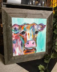 The Pants Barn Colorful Abstract Cow Painting Framed With Reclaimed Barn Wood At