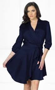 indie xo first date navy blue 3 4 sleeve cross wrap v neck ruffle