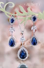 sapphire earrings necklace set images Myrine sapphire blue jewelry set gift navy royal blue bridal jpg