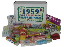 birthday basket 58th birthday gift box of nostalgic retro candy for a