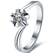rings solitaire designs images Flower shape solid white gold 0 25ct brand quality synthetic jpg