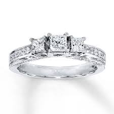 kay jewelers engagement rings for women jared 3 stone diamond ring 7 8 ct tw princess cut 14k white gold