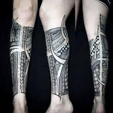 Guys Calf - with manly polynesian leg sleeve calf