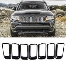 jeep front grill beler 7pcs black front grille vent hole cover trim insert frame