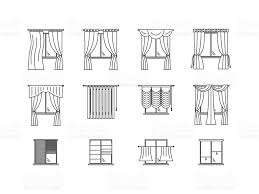 curtains types thin line set vector stock vector art 617748588
