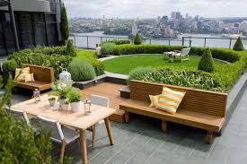 Patio Terrace Design Ideas Furniture Roof Terrace Patio Design With Green Garden Near Brown