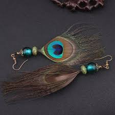 peacock feather earrings tribal peacock feather earrings spirit magic