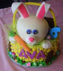 bunny rabbit easter cake with flowers and grass easter