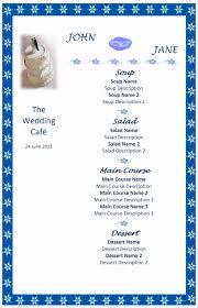 sample wedding menu templates free