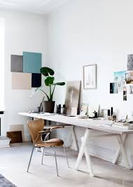 contemporary home office desk set with diy wall art decoration for