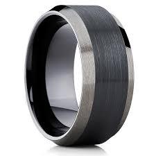 10mm black tungsten wedding band men s black tungsten ring