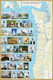 map of oregon lighthouses lighthouse map pack get all 8