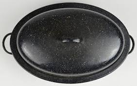 savory roasting pan enamelware enamel cookware vintage roasting pan