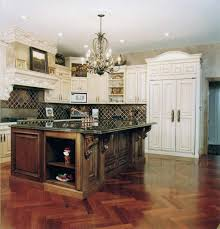 country kitchen design ideas wood cabinets black table white stone