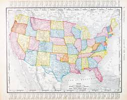 Color Map Of The United States by Antique Vintage Map United States America Usa U2014 Stock Photo