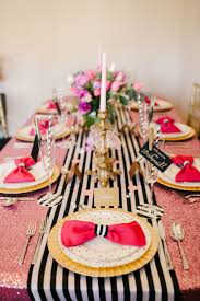 Pink And Gold Table Setting by A Chic And Swanky Kate Spade Inspired Dinner Party Quinceanera