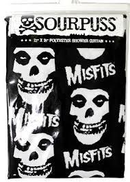 Sourpuss Shower Curtain Shower Curtain Misfits Skull Punk Rockabilly Tattoo Retro Fiend