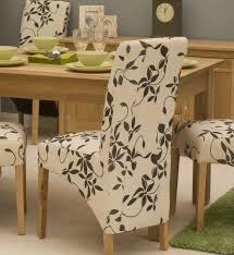 Patterned Dining Chairs Contemporary Dining Chairs In White Flowery Motif Made Of Fabric