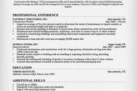 Landscape Resume Samples by Basic Resume For Construction Worker Reentrycorps