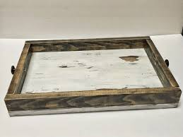 wood serving tray with handles serving platter ottoman tray