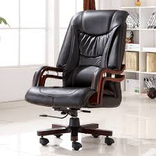 Ergonomic Home Office Furniture Executive Bonded Leather Office Chair Swivel Legs Wood Modern