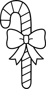 candy cane with bow line art free clip art