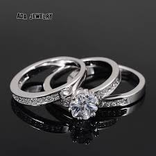 white gold wedding rings for 3 circles high quality eternal flower cz diamond ring set