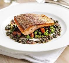 cuisine gordon ramsay pan fried sea trout peas chorizo fricassée recipe food