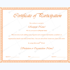 certificate for participation of child event template certificate