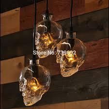 Glass Bottle Chandelier Blueking Lighting Retro Loft Skull Glass Bottle Chandelier