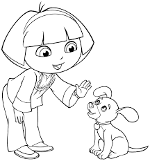 dora coloring pages dora puppy coloringstar