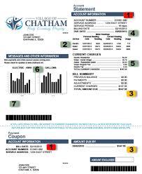 utility bill format village of chatham il