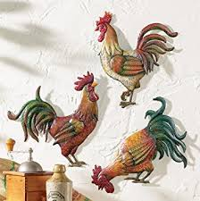 Rooster Home Decor Amazon Com Premium Metal French Country Rooster Wall Art Trio By