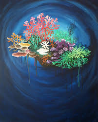original art acrylic canvas painting by monica downs coral reef 1