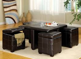 furniture square black leather large ottoman tray on white carpet