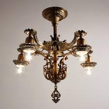 Spanish Revival Chandelier Antique Spanish Revival Semi Flush Chandelier Original Polychrome