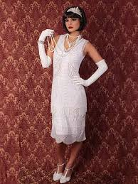 1920 u0027s style beaded fringed white flapper dress 20s inspired
