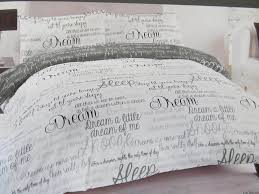 dream script grey and white double duvet cover and pillow set