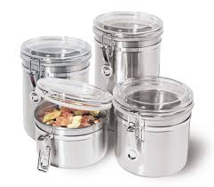 kitchen storage canister amazon com oggi 4 piece stainless steel canister set with acrylic