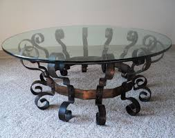 scrolled metal u0026 glass coffee table julesmoderne com
