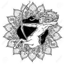 sagittarius zodiac sign with a decorative frame of sun flares
