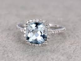 aquamarine and diamond ring mm cushion aquamarine engagement ring diamond wedding ring 8