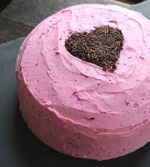 chocolate beet cake with naturally dyed buttercream frosting